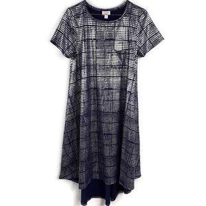 LuLaRoe Metallic & Blue Carly Summer Shirt Dress